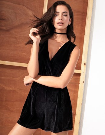 Velvet Plunge Playsuit - neckline: low v-neck; fit: fitted at waist; pattern: plain; sleeve style: sleeveless; length: short shorts; predominant colour: black; occasions: evening; fibres: polyester/polyamide - 100%; sleeve length: sleeveless; style: playsuit; pattern type: fabric; texture group: other - light to midweight; season: a/w 2016; wardrobe: event