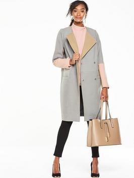 Premium Colourblock Boyfriend Coat - pattern: plain; style: single breasted; length: on the knee; fit: slim fit; collar: standard lapel/rever collar; secondary colour: blush; predominant colour: pale blue; occasions: casual; fibres: polyester/polyamide - stretch; sleeve length: long sleeve; sleeve style: standard; collar break: medium; pattern type: fabric; texture group: woven bulky/heavy; multicoloured: multicoloured; season: a/w 2016; wardrobe: highlight