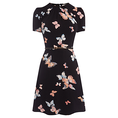 Butterfly Skater Dress, Multi - style: tea dress; length: mid thigh; waist detail: fitted waist; secondary colour: nude; predominant colour: black; fit: fitted at waist & bust; fibres: polyester/polyamide - 100%; neckline: crew; hip detail: soft pleats at hip/draping at hip/flared at hip; sleeve length: short sleeve; sleeve style: standard; pattern type: fabric; pattern: patterned/print; texture group: woven light midweight; occasions: creative work; multicoloured: multicoloured; season: a/w 2016; wardrobe: highlight