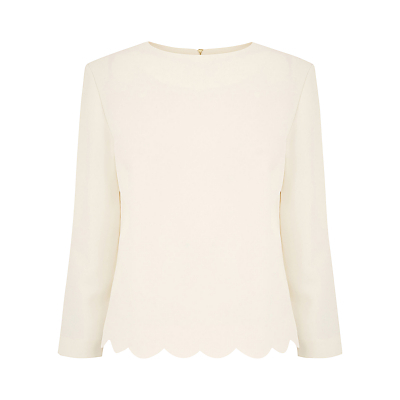 Scallop Top, Off White - pattern: plain; style: blouse; predominant colour: ivory/cream; occasions: work, creative work; length: standard; fibres: polyester/polyamide - 100%; fit: straight cut; neckline: crew; sleeve length: 3/4 length; sleeve style: standard; texture group: crepes; pattern type: fabric; wardrobe: basic; season: a/w 2016