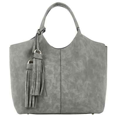 Maggie Tote Bag - predominant colour: mid grey; occasions: casual, creative work; type of pattern: standard; style: tote; length: shoulder (tucks under arm); size: standard; embellishment: tassels; pattern: plain; finish: plain; material: faux suede; season: a/w 2016