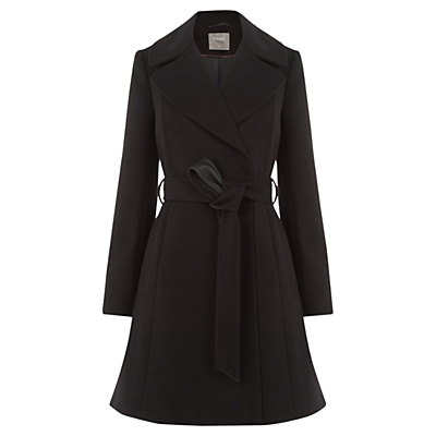 Annabel Belted Flare Coat, Black - pattern: plain; style: wrap around; collar: standard lapel/rever collar; length: mid thigh; predominant colour: black; occasions: work; fit: tailored/fitted; fibres: polyester/polyamide - stretch; waist detail: belted waist/tie at waist/drawstring; sleeve length: long sleeve; sleeve style: standard; collar break: medium; pattern type: fabric; texture group: woven bulky/heavy; season: a/w 2016