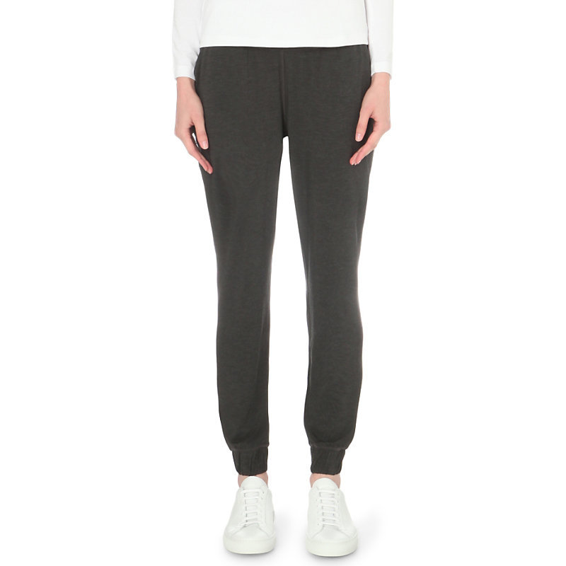 Deep Waistband Jersey Jogging Bottoms, Women's, Darkcharcmarl - length: standard; pattern: plain; style: tracksuit pants; waist detail: elasticated waist; waist: mid/regular rise; predominant colour: charcoal; occasions: casual; fibres: viscose/rayon - stretch; fit: tapered; pattern type: fabric; texture group: jersey - stretchy/drapey; pattern size: standard (bottom); wardrobe: basic; season: a/w 2016