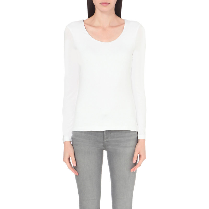 Essential Double Layer Cotton Jersey T Shirt, Women's, White - pattern: plain; style: t-shirt; predominant colour: white; occasions: casual, creative work; length: standard; fibres: cotton - stretch; fit: body skimming; neckline: crew; sleeve length: long sleeve; sleeve style: standard; pattern type: fabric; texture group: jersey - stretchy/drapey; wardrobe: basic; season: a/w 2016