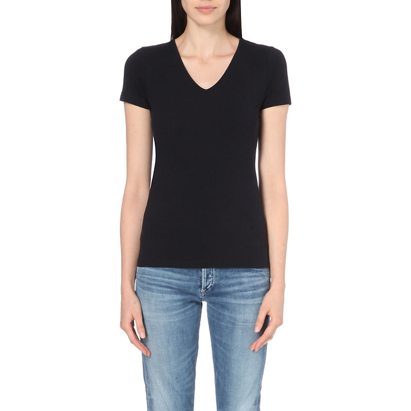 Essential Stretch Cotton T Shirt, Women's, Blue - neckline: v-neck; pattern: plain; style: t-shirt; predominant colour: navy; occasions: casual, creative work; length: standard; fibres: cotton - 100%; fit: body skimming; sleeve length: short sleeve; sleeve style: standard; pattern type: fabric; texture group: jersey - stretchy/drapey; wardrobe: basic; season: a/w 2016