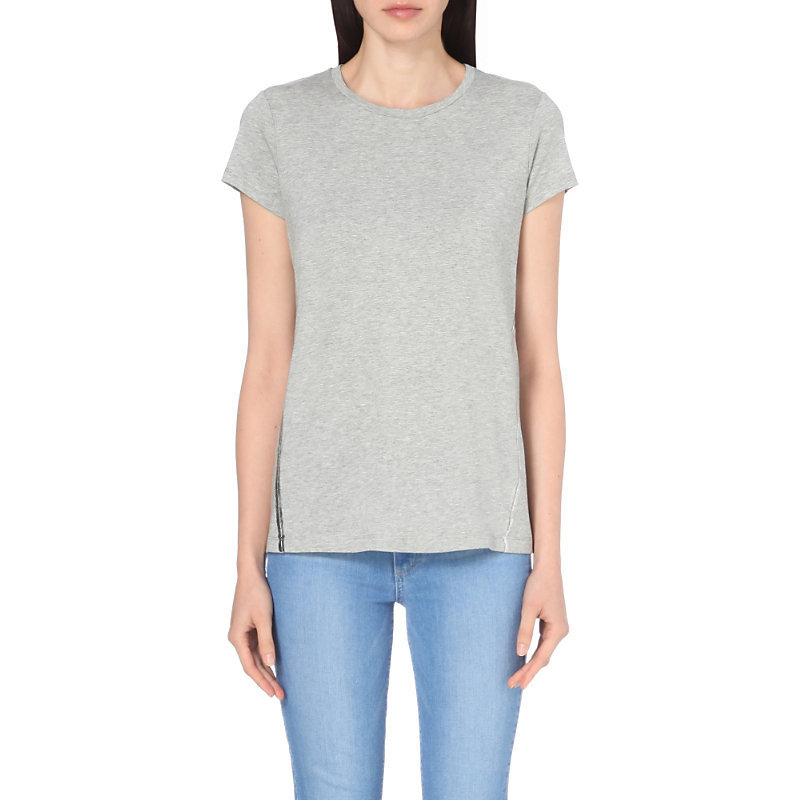 Foil Print Jersey T Shirt, Women's, Grey Marl - neckline: round neck; pattern: plain; style: t-shirt; predominant colour: light grey; occasions: casual, creative work; length: standard; fibres: cotton - stretch; fit: body skimming; sleeve length: short sleeve; sleeve style: standard; pattern type: fabric; texture group: jersey - stretchy/drapey; wardrobe: basic; season: a/w 2016
