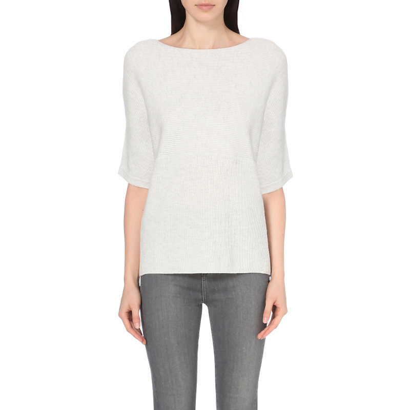 Ribbed Wool And Cashmere Blend Jumper, Women's, Cloud Marl - pattern: plain; style: standard; predominant colour: white; occasions: casual; length: standard; fibres: wool - mix; fit: standard fit; neckline: crew; sleeve length: 3/4 length; sleeve style: standard; texture group: knits/crochet; pattern type: fabric; wardrobe: basic; season: a/w 2016