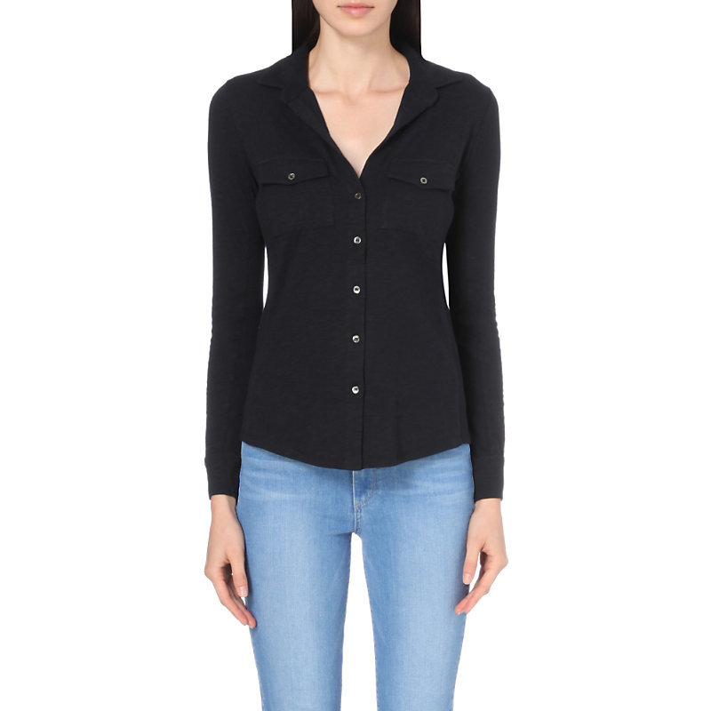 Cotton Jersey Shirt, Women's, Blue - neckline: v-neck; pattern: plain; style: shirt; predominant colour: black; occasions: casual; length: standard; fibres: cotton - stretch; fit: body skimming; sleeve length: long sleeve; sleeve style: standard; pattern type: fabric; texture group: jersey - stretchy/drapey; wardrobe: basic; season: a/w 2016