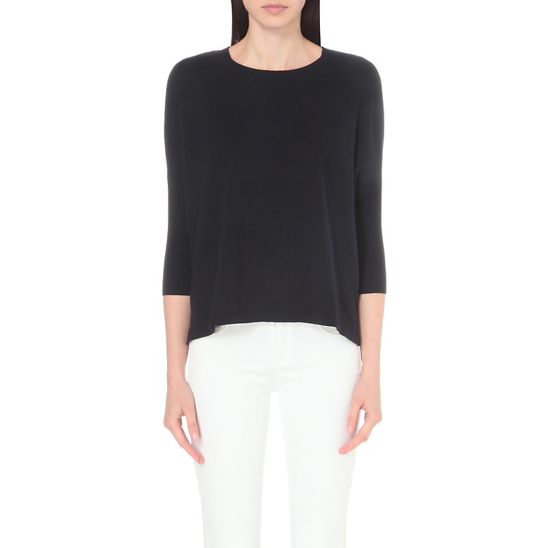 Rectangular Cotton Blend Jumper, Women's, Blue - pattern: plain; length: below the bottom; style: standard; predominant colour: black; occasions: casual, creative work; fibres: cotton - mix; fit: loose; neckline: crew; sleeve length: 3/4 length; sleeve style: standard; texture group: knits/crochet; pattern type: knitted - fine stitch; pattern size: standard; wardrobe: basic; season: a/w 2016