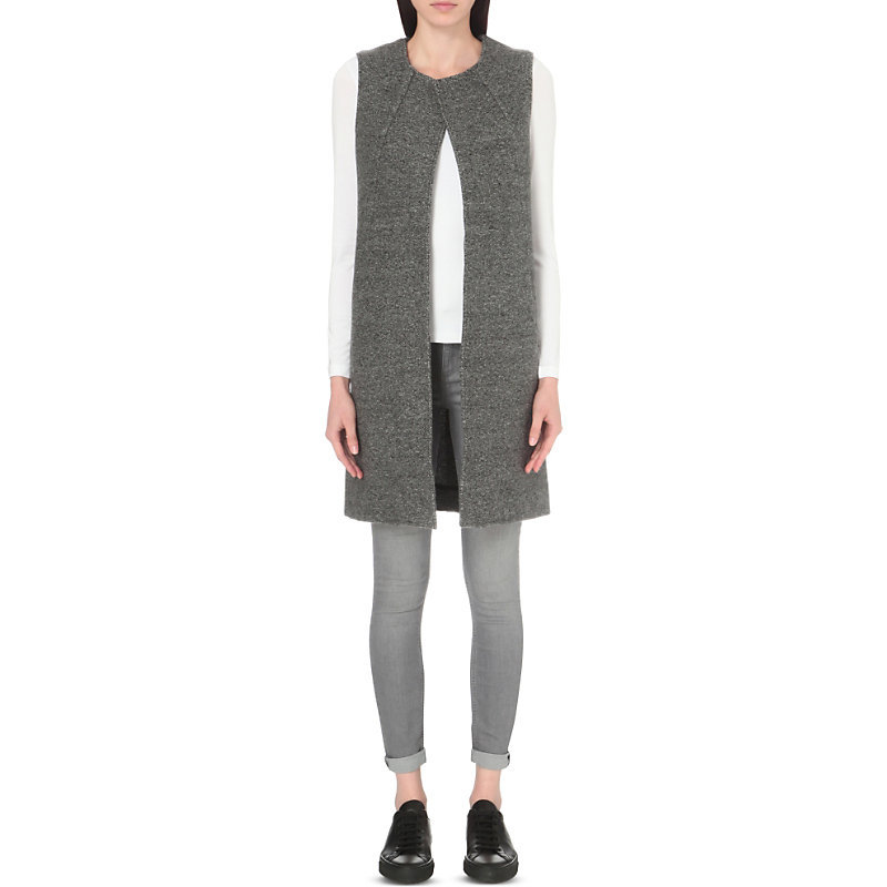 Sleeveless Speckled Wool Cardigan, Women's, Grey Marl - pattern: plain; sleeve style: sleeveless; length: below the bottom; neckline: collarless open; style: open front; predominant colour: charcoal; occasions: casual; fibres: wool - 100%; fit: standard fit; sleeve length: sleeveless; texture group: knits/crochet; pattern type: knitted - fine stitch; pattern size: standard; wardrobe: basic; season: a/w 2016