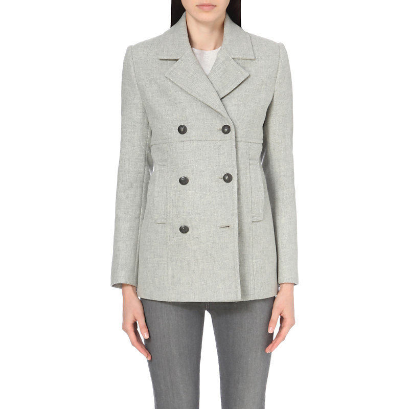 Wool Blend Peacoat, Women's, Grey - pattern: plain; length: below the bottom; style: double breasted; collar: standard lapel/rever collar; predominant colour: light grey; occasions: work; fit: tailored/fitted; fibres: wool - mix; sleeve length: long sleeve; sleeve style: standard; collar break: medium; pattern type: fabric; texture group: woven light midweight; wardrobe: investment; season: a/w 2016
