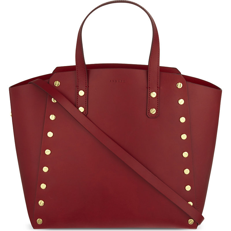 Abby Cabas Leather Tote, Women's, Rouge - predominant colour: burgundy; occasions: work, creative work; type of pattern: standard; style: tote; length: handle; size: standard; material: leather; embellishment: studs; pattern: plain; finish: plain; season: a/w 2016; wardrobe: highlight