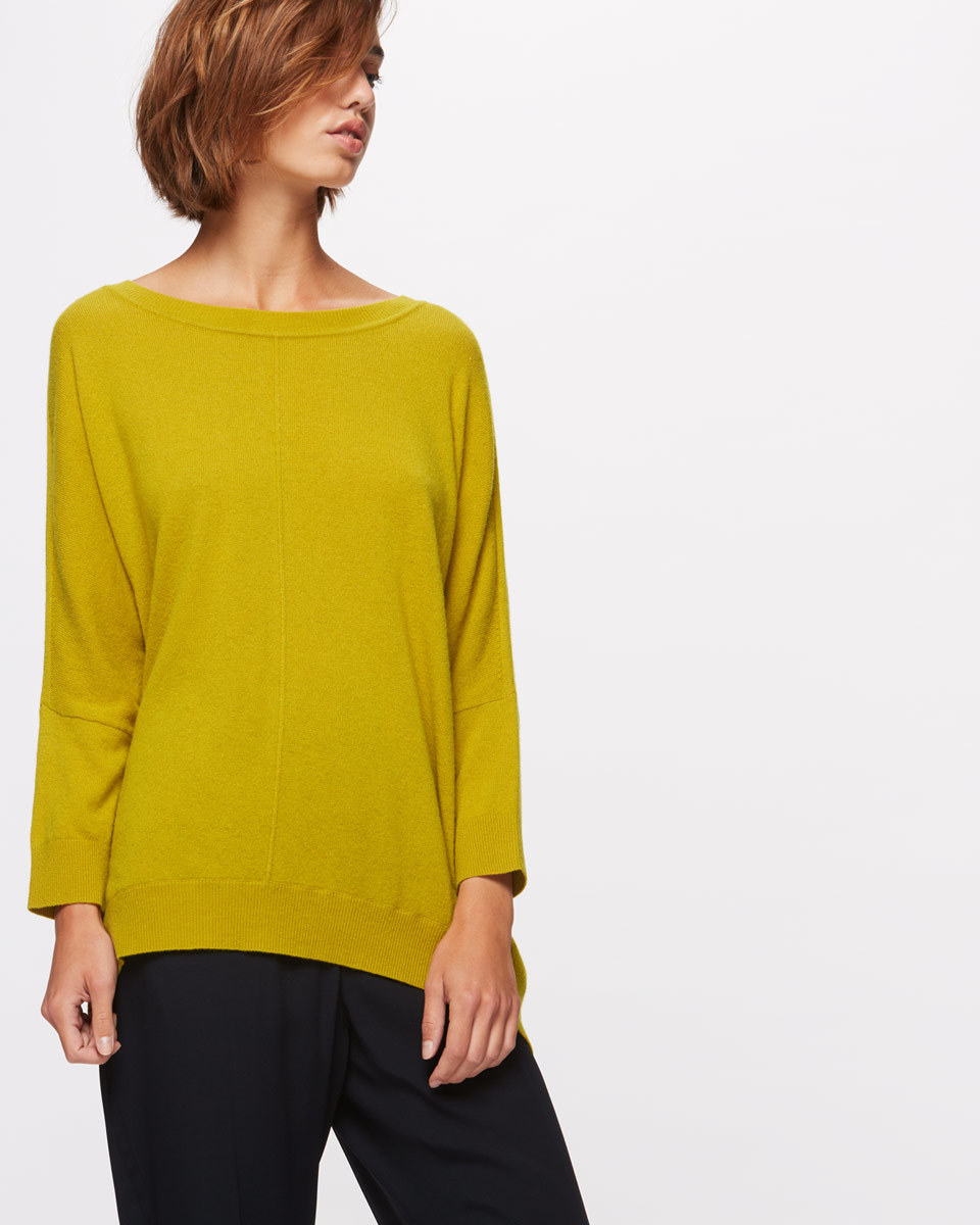 Button Back Drop Hem Sweater - neckline: slash/boat neckline; pattern: plain; length: below the bottom; style: standard; predominant colour: yellow; occasions: casual, creative work; fibres: wool - mix; fit: loose; sleeve length: long sleeve; sleeve style: standard; texture group: knits/crochet; pattern type: knitted - fine stitch; pattern size: standard; season: a/w 2016; wardrobe: highlight