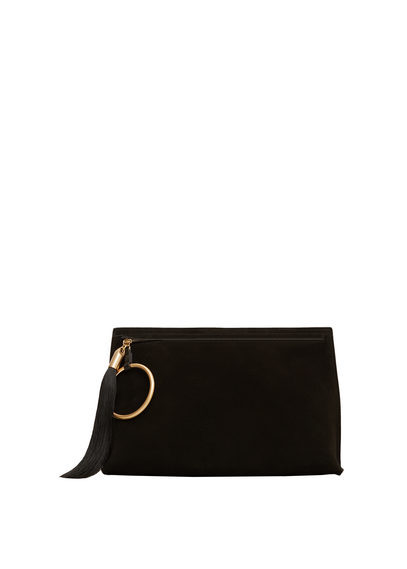 Zipped Leather Clutch - predominant colour: black; occasions: evening; type of pattern: standard; style: clutch; length: hand carry; size: small; material: leather; pattern: plain; finish: plain; season: a/w 2016; wardrobe: event