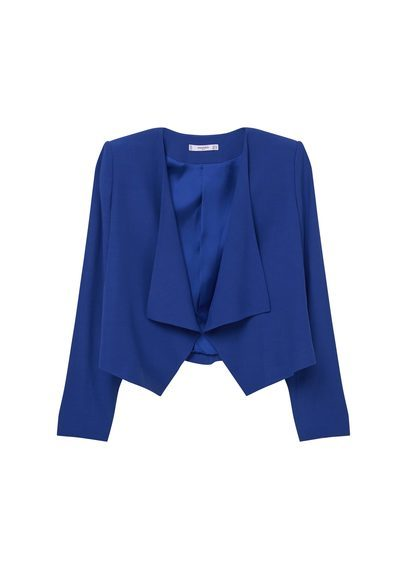Waterfall Jacket - pattern: plain; style: single breasted blazer; collar: shawl/waterfall; predominant colour: royal blue; occasions: casual, creative work; fit: straight cut (boxy); fibres: viscose/rayon - 100%; sleeve length: long sleeve; sleeve style: standard; collar break: low/open; pattern type: fabric; texture group: woven light midweight; length: cropped; season: a/w 2016; wardrobe: highlight