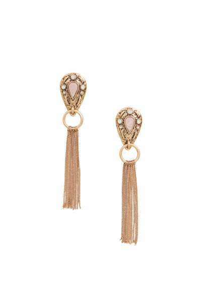 Multiple Chain Earrings - predominant colour: gold; occasions: evening, occasion; style: drop; length: long; size: standard; material: chain/metal; fastening: pierced; finish: metallic; embellishment: tassels; season: a/w 2016; wardrobe: event