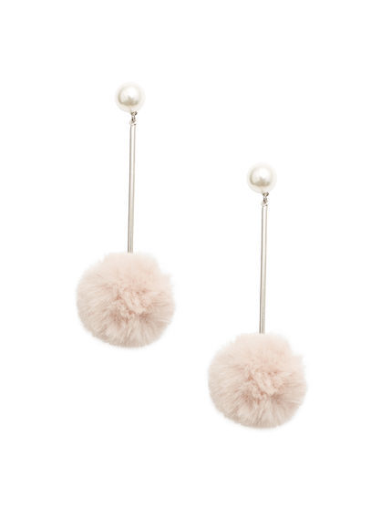 Pompom Earrings - predominant colour: ivory/cream; secondary colour: gold; occasions: evening; style: drop; length: long; size: large/oversized; material: chain/metal; fastening: pierced; finish: metallic; embellishment: fur; season: a/w 2016