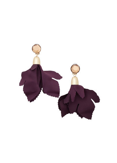Mixed Pieces Earrings - predominant colour: aubergine; secondary colour: gold; occasions: evening, occasion; style: drop; length: mid; size: standard; material: chain/metal; fastening: pierced; finish: metallic; season: a/w 2016; wardrobe: event