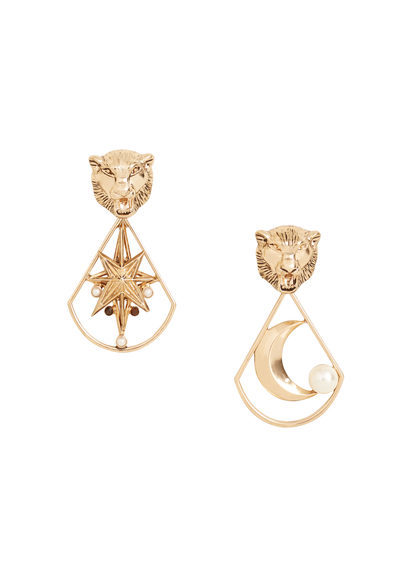 Metal Earrings - predominant colour: gold; occasions: evening; style: drop; length: mid; size: large/oversized; material: chain/metal; fastening: pierced; finish: metallic; season: a/w 2016; wardrobe: event