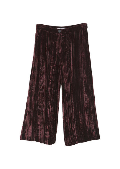 Cropped Velvet Trousers - pattern: plain; style: palazzo; waist: mid/regular rise; predominant colour: aubergine; occasions: casual, creative work; length: calf length; fit: wide leg; pattern type: fabric; texture group: velvet/fabrics with pile; fibres: viscose/rayon - mix; season: a/w 2016; wardrobe: highlight; trends: velvet