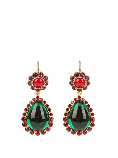 Crystal Embellished Clip On Drop Earrings - predominant colour: emerald green; occasions: evening, occasion; style: drop; length: long; size: large/oversized; material: chain/metal; fastening: pierced; finish: metallic; embellishment: jewels/stone; secondary colour: raspberry; season: a/w 2016