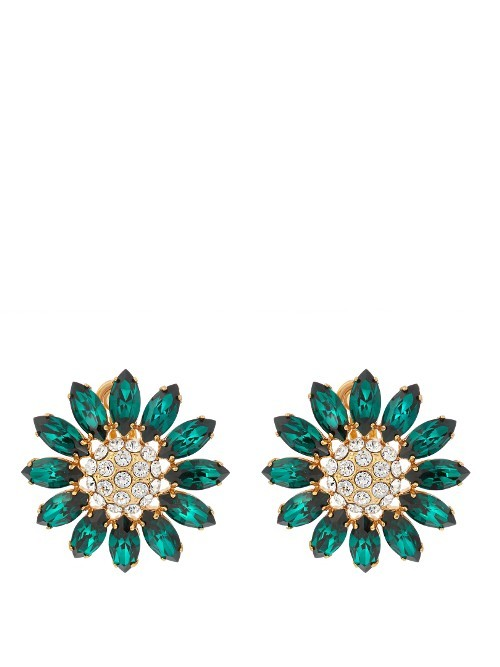 Flower Crystal Embellished Earrings - predominant colour: dark green; secondary colour: silver; occasions: evening; style: stud; length: short; size: small/fine; material: chain/metal; fastening: pierced; finish: metallic; embellishment: crystals/glass; season: a/w 2016