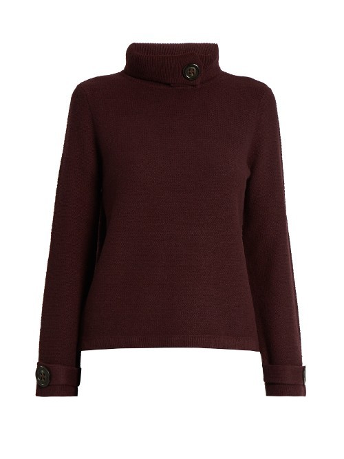 Halston Roll Neck Sweater - pattern: plain; neckline: roll neck; style: standard; predominant colour: burgundy; occasions: casual, work, creative work; length: standard; fibres: wool - 100%; fit: standard fit; sleeve length: long sleeve; sleeve style: standard; texture group: knits/crochet; pattern type: knitted - big stitch; season: a/w 2016; wardrobe: highlight