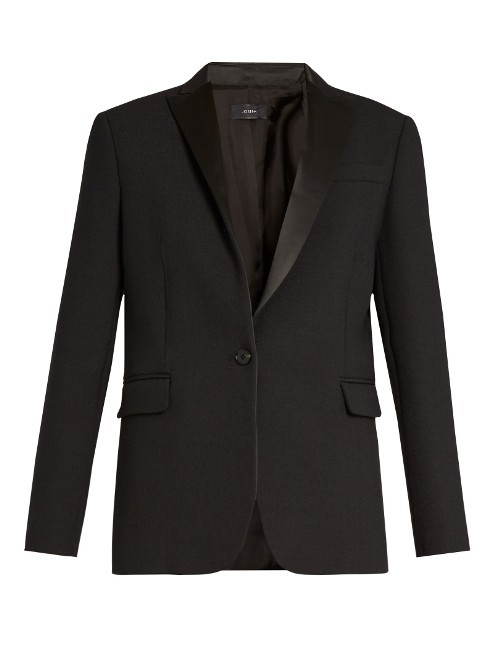 Savoy Tuxedo Jacket - pattern: plain; style: single breasted blazer; collar: standard lapel/rever collar; predominant colour: black; occasions: work; length: standard; fit: tailored/fitted; fibres: polyester/polyamide - 100%; sleeve length: long sleeve; sleeve style: standard; texture group: crepes; collar break: medium; pattern type: fabric; wardrobe: investment; season: a/w 2016