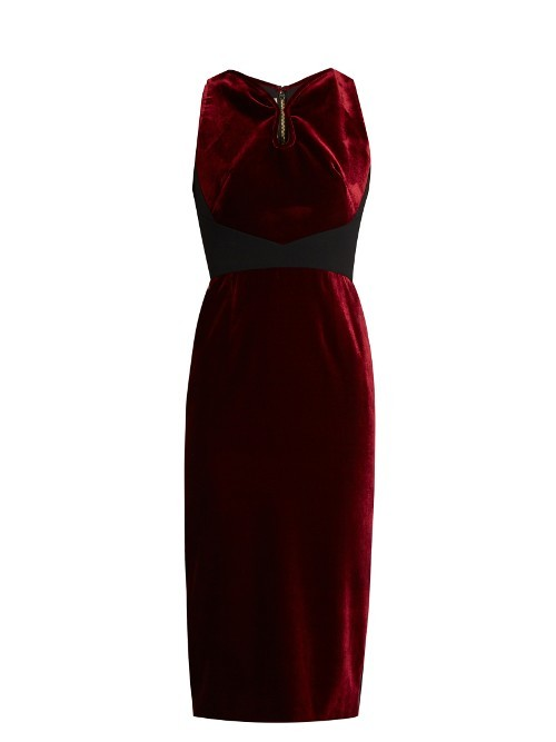 Mennan Velvet Dress - style: shift; length: below the knee; neckline: v-neck; pattern: plain; sleeve style: sleeveless; hip detail: draws attention to hips; predominant colour: burgundy; occasions: evening; fit: body skimming; fibres: cotton - 100%; sleeve length: sleeveless; pattern type: fabric; texture group: velvet/fabrics with pile; season: a/w 2016; wardrobe: event