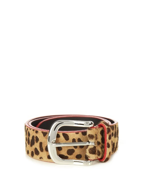 Leopard Calf Hair Belt - predominant colour: camel; occasions: casual, creative work; type of pattern: heavy; style: classic; size: standard; worn on: waist; material: animal skin; pattern: animal print; finish: plain; season: a/w 2016