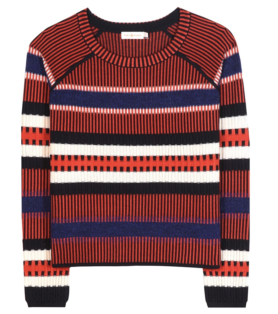 Monterey Striped Wool Blend Sweater - pattern: horizontal stripes; style: standard; secondary colour: royal blue; predominant colour: terracotta; occasions: casual, creative work; length: standard; fibres: wool - mix; fit: standard fit; neckline: crew; sleeve length: long sleeve; sleeve style: standard; texture group: knits/crochet; pattern type: knitted - other; multicoloured: multicoloured; season: a/w 2016; wardrobe: highlight