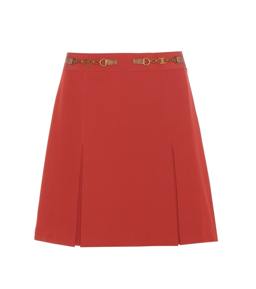 Silla Skirt - length: mid thigh; pattern: plain; fit: loose/voluminous; waist: high rise; waist detail: belted waist/tie at waist/drawstring; predominant colour: true red; occasions: casual, creative work; style: a-line; fibres: polyester/polyamide - stretch; texture group: crepes; pattern type: fabric; season: a/w 2016; wardrobe: highlight