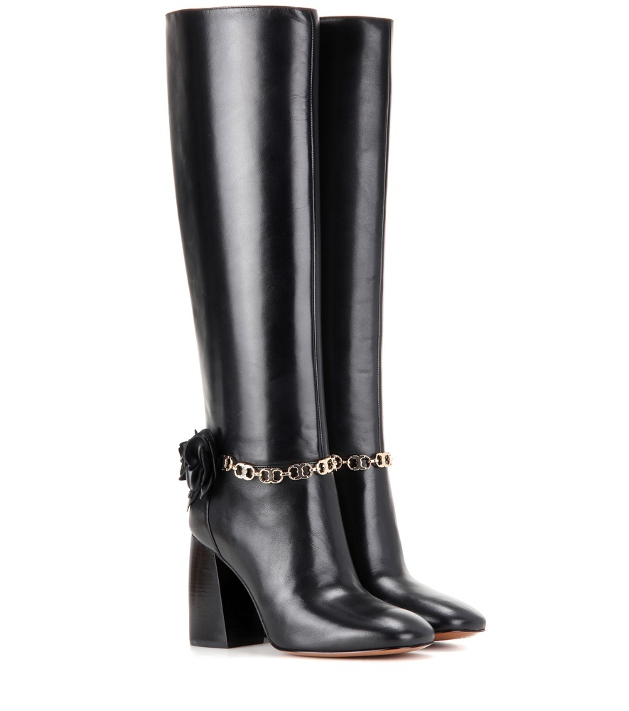 Blossom 90 Leather Boots - predominant colour: black; occasions: casual, creative work; material: leather; heel height: high; heel: block; toe: round toe; boot length: knee; style: standard; finish: plain; pattern: plain; embellishment: chain/metal; season: a/w 2016