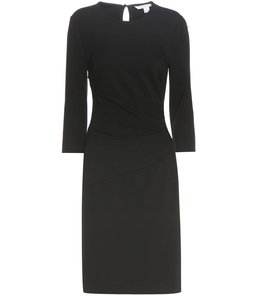 Glennie Dress - style: shift; pattern: plain; predominant colour: black; occasions: evening, work, creative work; length: on the knee; fit: body skimming; fibres: viscose/rayon - stretch; neckline: crew; sleeve length: 3/4 length; sleeve style: standard; pattern type: fabric; texture group: jersey - stretchy/drapey; wardrobe: investment; season: a/w 2016