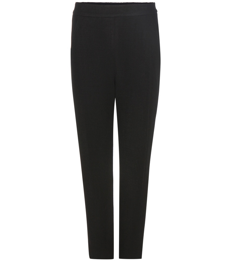 Wool Blend Trousers - length: standard; pattern: plain; waist: mid/regular rise; predominant colour: black; occasions: work, creative work; fibres: wool - stretch; texture group: crepes; fit: slim leg; pattern type: fabric; style: standard; wardrobe: basic; season: a/w 2016