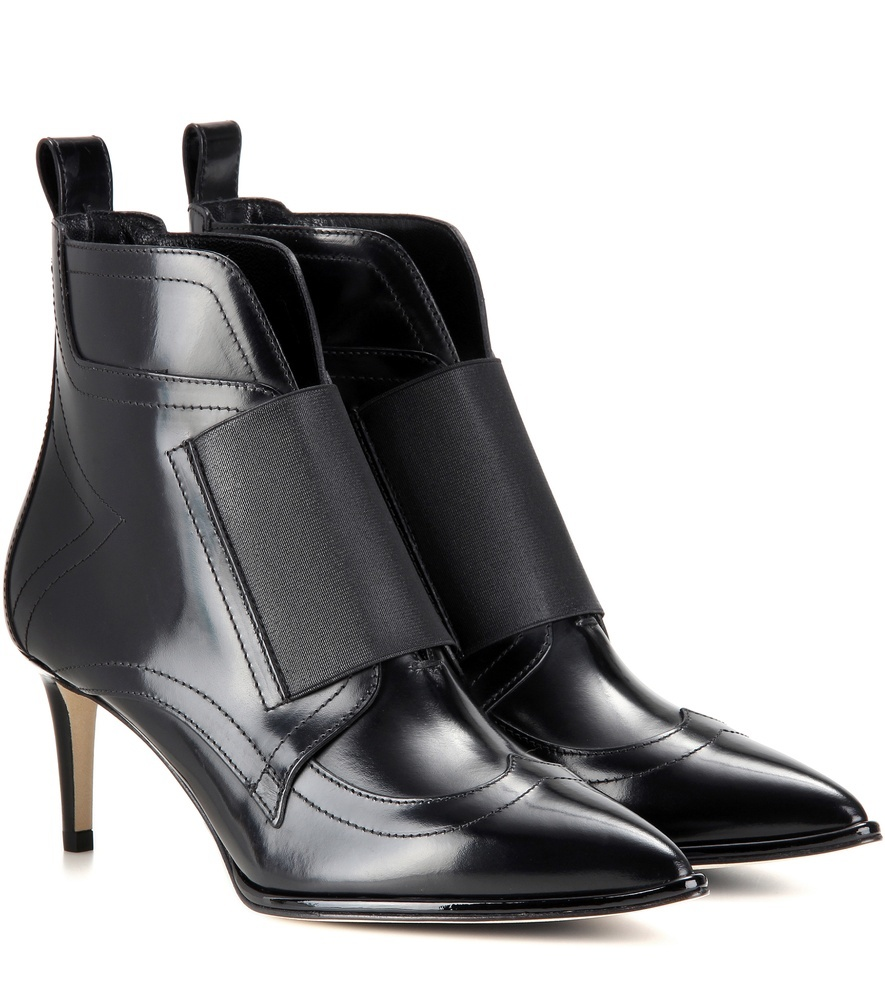 Mazzy 65 Leather Ankle Boots - predominant colour: black; occasions: casual, evening, creative work; material: leather; heel height: mid; heel: stiletto; toe: pointed toe; boot length: ankle boot; style: standard; finish: plain; pattern: plain; wardrobe: basic; season: a/w 2016
