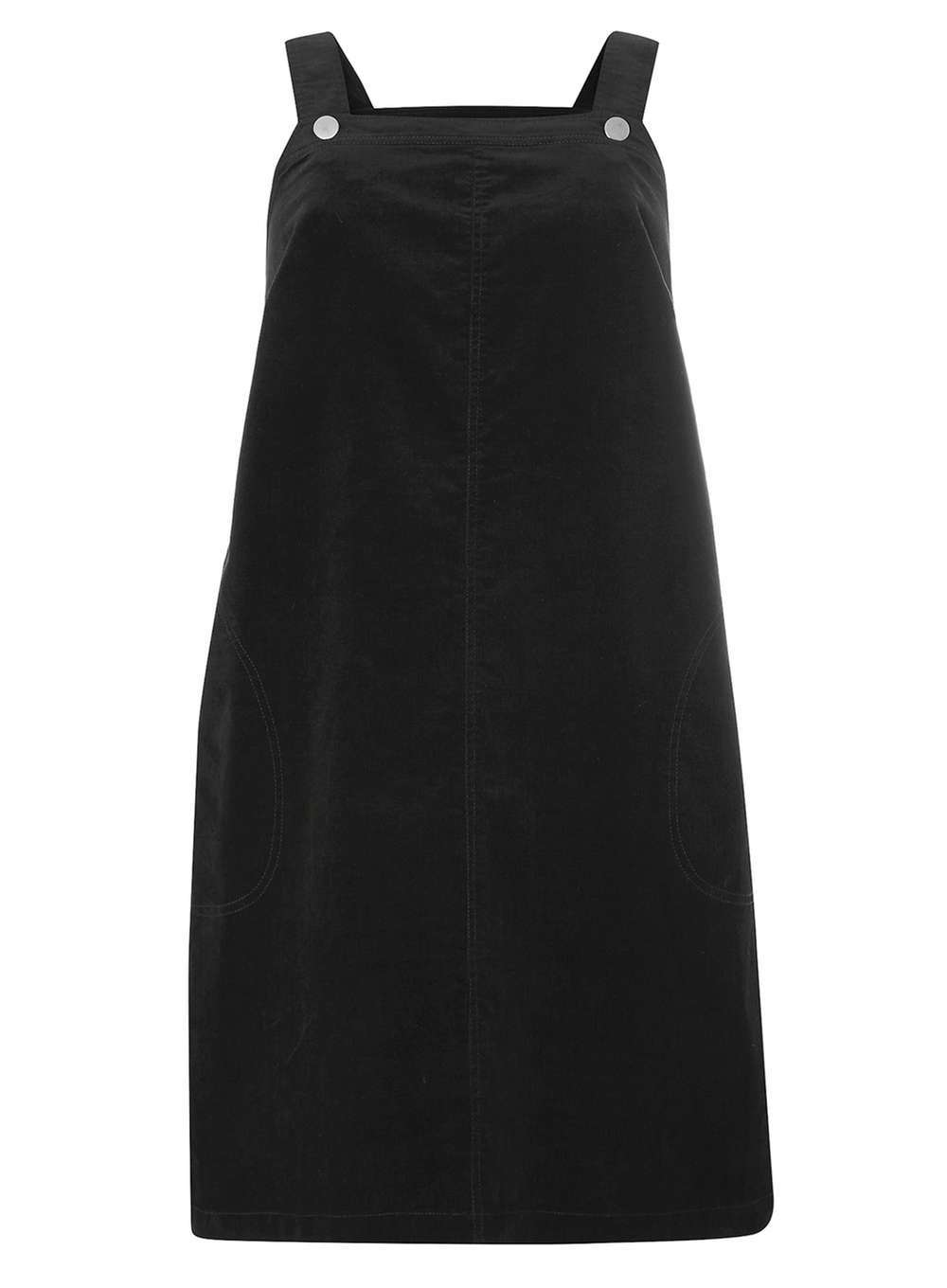 Womens **Dp Curve Black Cord Pinny Dress Black - length: mid thigh; sleeve style: standard vest straps/shoulder straps; pattern: plain; style: dungaree dress/pinafore; predominant colour: black; occasions: casual; fit: body skimming; fibres: cotton - stretch; sleeve length: sleeveless; texture group: corduroy; neckline: medium square neck; pattern type: fabric; season: a/w 2016