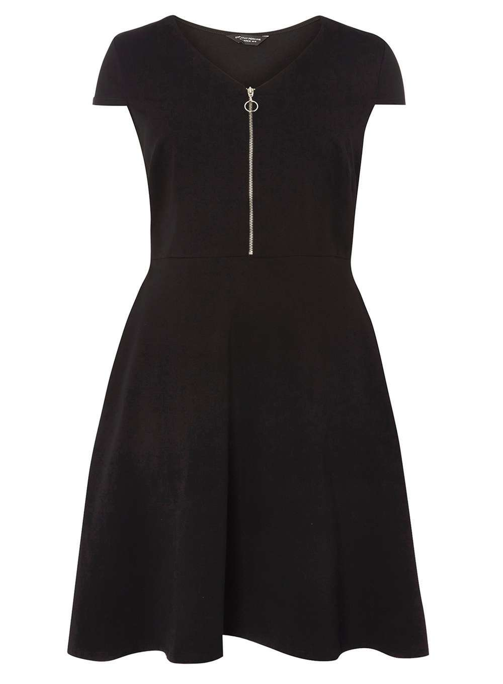 Womens Dp Curve Plus Size Black Zip Front Fit And Flare Dress Black - length: mid thigh; neckline: v-neck; sleeve style: capped; pattern: plain; predominant colour: black; occasions: evening; fit: fitted at waist & bust; style: fit & flare; fibres: cotton - stretch; sleeve length: short sleeve; pattern type: fabric; texture group: jersey - stretchy/drapey; season: a/w 2016; wardrobe: event