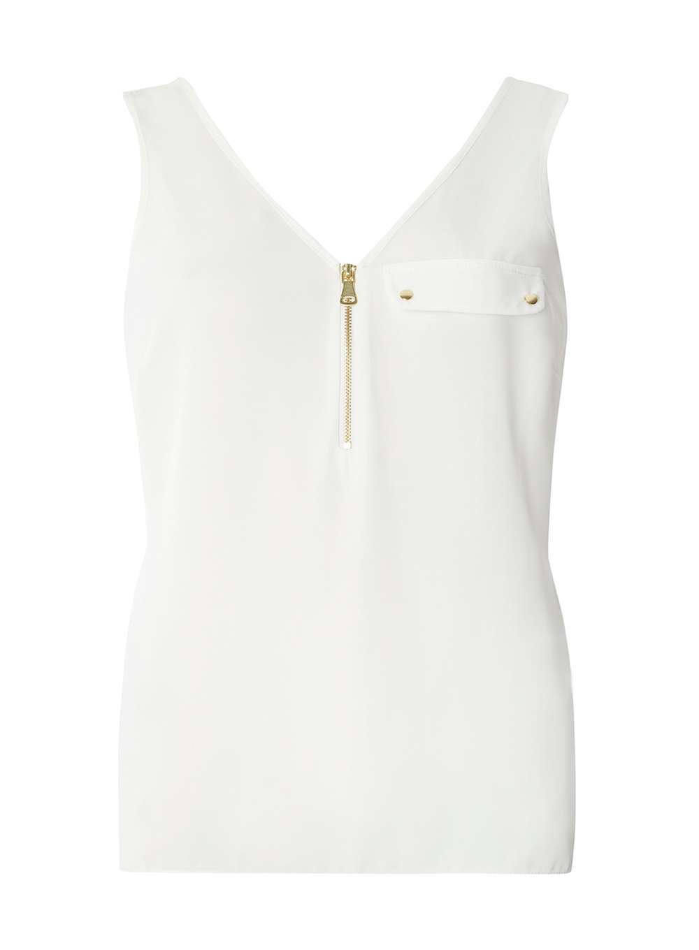 Womens White Front Zip Vest White - neckline: v-neck; pattern: plain; sleeve style: sleeveless; style: vest top; predominant colour: white; occasions: casual; length: standard; fibres: polyester/polyamide - 100%; fit: body skimming; sleeve length: sleeveless; texture group: sheer fabrics/chiffon/organza etc.; pattern type: fabric; wardrobe: basic; season: a/w 2016; embellishment location: bust