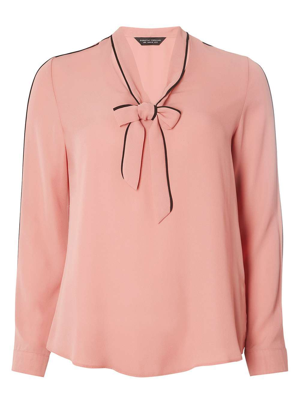 Womens Rose Long Sleeve Pussybow Top Dusky Rose - pattern: plain; neckline: pussy bow; style: blouse; predominant colour: pink; secondary colour: black; occasions: casual, creative work; length: standard; fibres: polyester/polyamide - 100%; fit: body skimming; sleeve length: long sleeve; sleeve style: standard; pattern type: fabric; texture group: other - light to midweight; season: a/w 2016; wardrobe: highlight