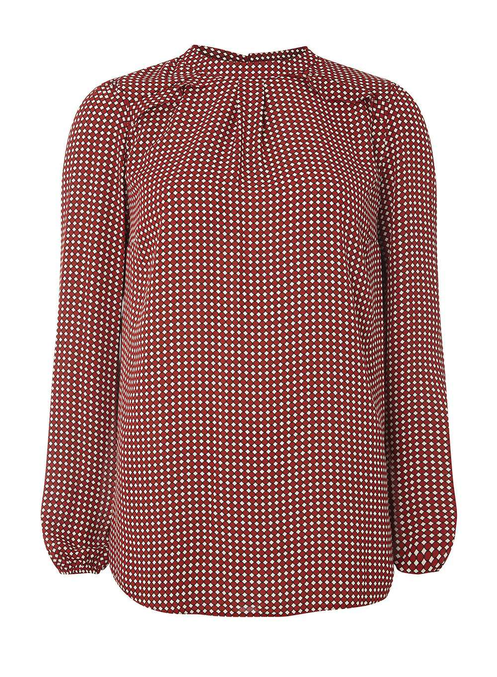 Womens **Tall Red Spot Floral Blouse Red - pattern: checked/gingham; style: blouse; secondary colour: ivory/cream; predominant colour: true red; occasions: casual, creative work; length: standard; fibres: polyester/polyamide - 100%; fit: loose; neckline: crew; sleeve length: long sleeve; sleeve style: standard; pattern type: fabric; pattern size: standard; texture group: other - light to midweight; season: a/w 2016; wardrobe: highlight