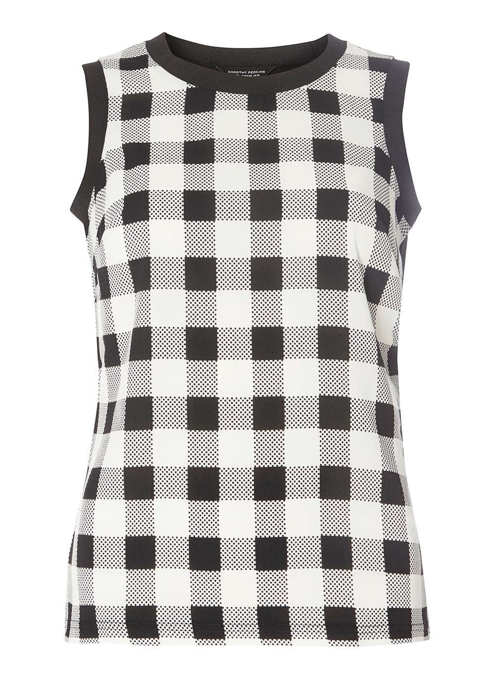 Womens Black And White Check Shell Top Black - sleeve style: sleeveless; pattern: checked/gingham; secondary colour: white; predominant colour: black; occasions: casual; length: standard; style: top; fibres: polyester/polyamide - 100%; fit: body skimming; neckline: crew; sleeve length: sleeveless; pattern type: fabric; texture group: jersey - stretchy/drapey; season: a/w 2016