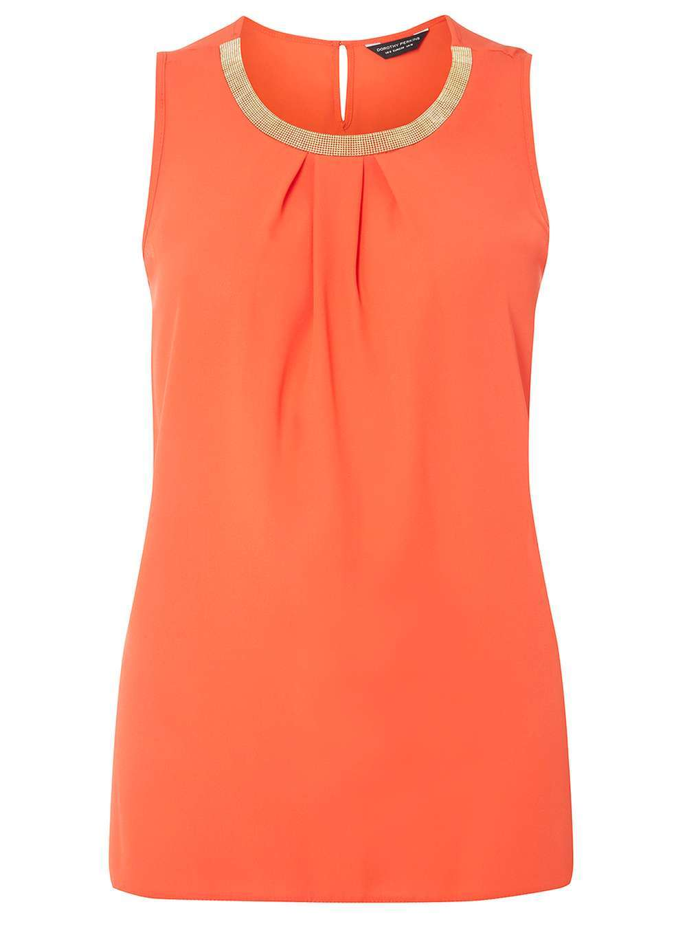 Womens Orange Embellished Top Orange - pattern: plain; sleeve style: sleeveless; predominant colour: bright orange; occasions: casual; length: standard; style: top; fibres: polyester/polyamide - 100%; fit: body skimming; neckline: crew; sleeve length: sleeveless; pattern type: fabric; texture group: jersey - stretchy/drapey; season: a/w 2016; wardrobe: highlight