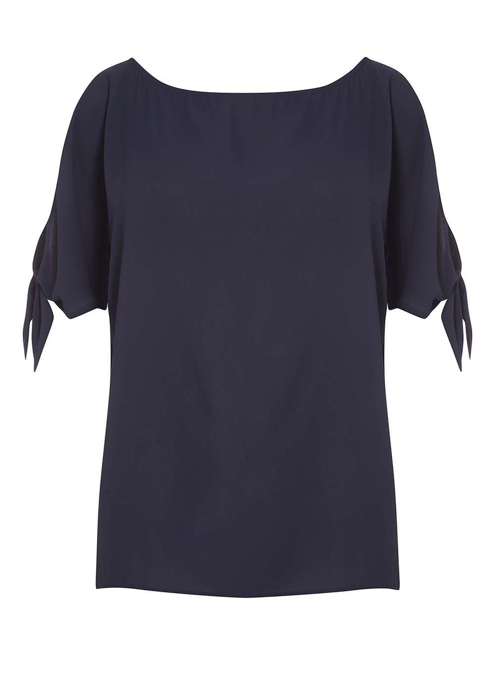 Womens Navy Tie Sleeve Top Blue - neckline: round neck; pattern: plain; predominant colour: navy; occasions: casual; length: standard; style: top; fibres: polyester/polyamide - 100%; fit: body skimming; sleeve length: short sleeve; sleeve style: standard; pattern type: fabric; texture group: other - light to midweight; wardrobe: basic; season: a/w 2016