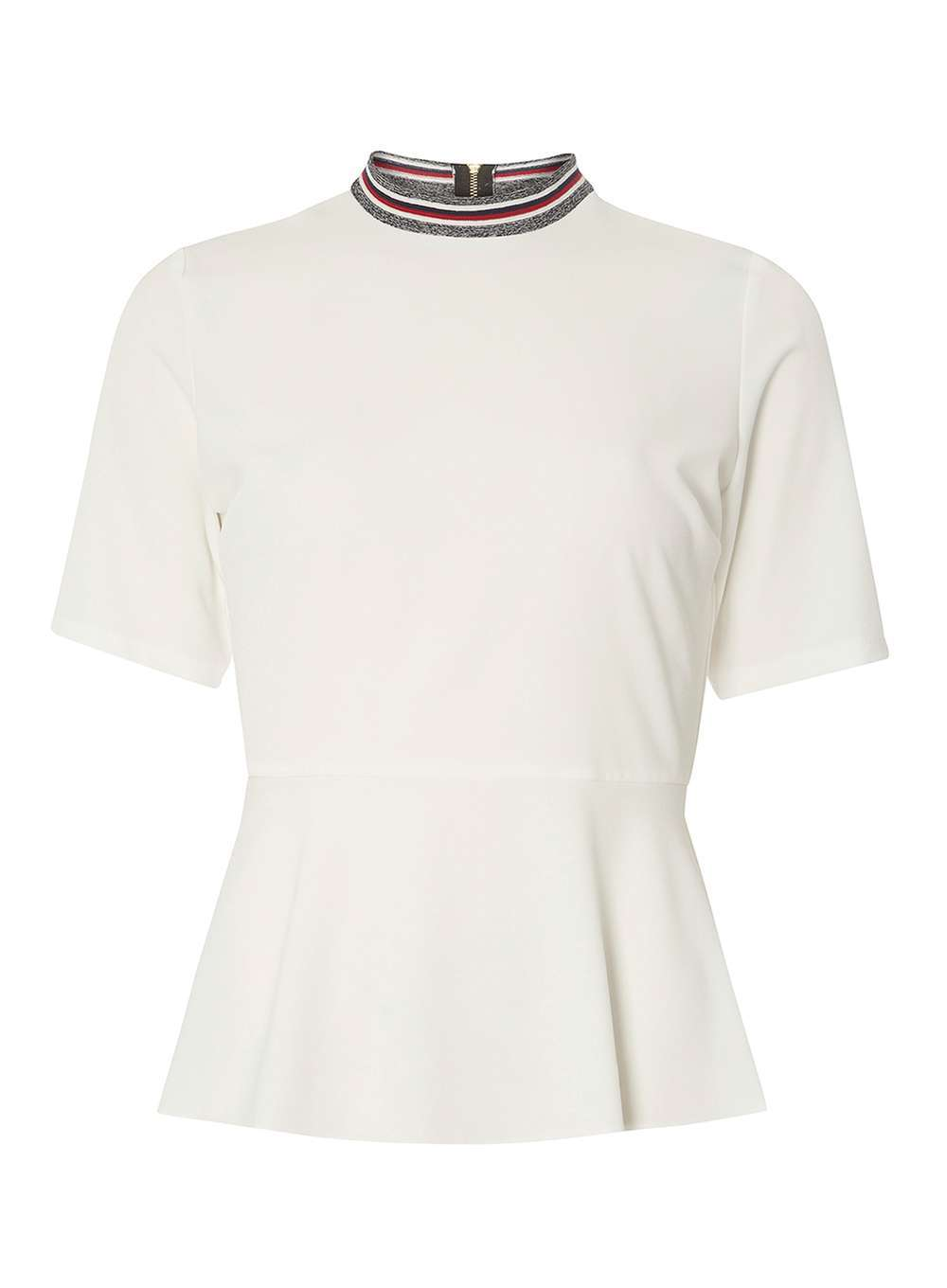 Womens White Peplum Ribbed Neck Top White - pattern: plain; neckline: high neck; waist detail: peplum waist detail; predominant colour: ivory/cream; secondary colour: mid grey; occasions: casual; length: standard; style: top; fibres: polyester/polyamide - stretch; fit: body skimming; sleeve length: short sleeve; sleeve style: standard; pattern type: fabric; texture group: jersey - stretchy/drapey; multicoloured: multicoloured; wardrobe: basic; season: a/w 2016