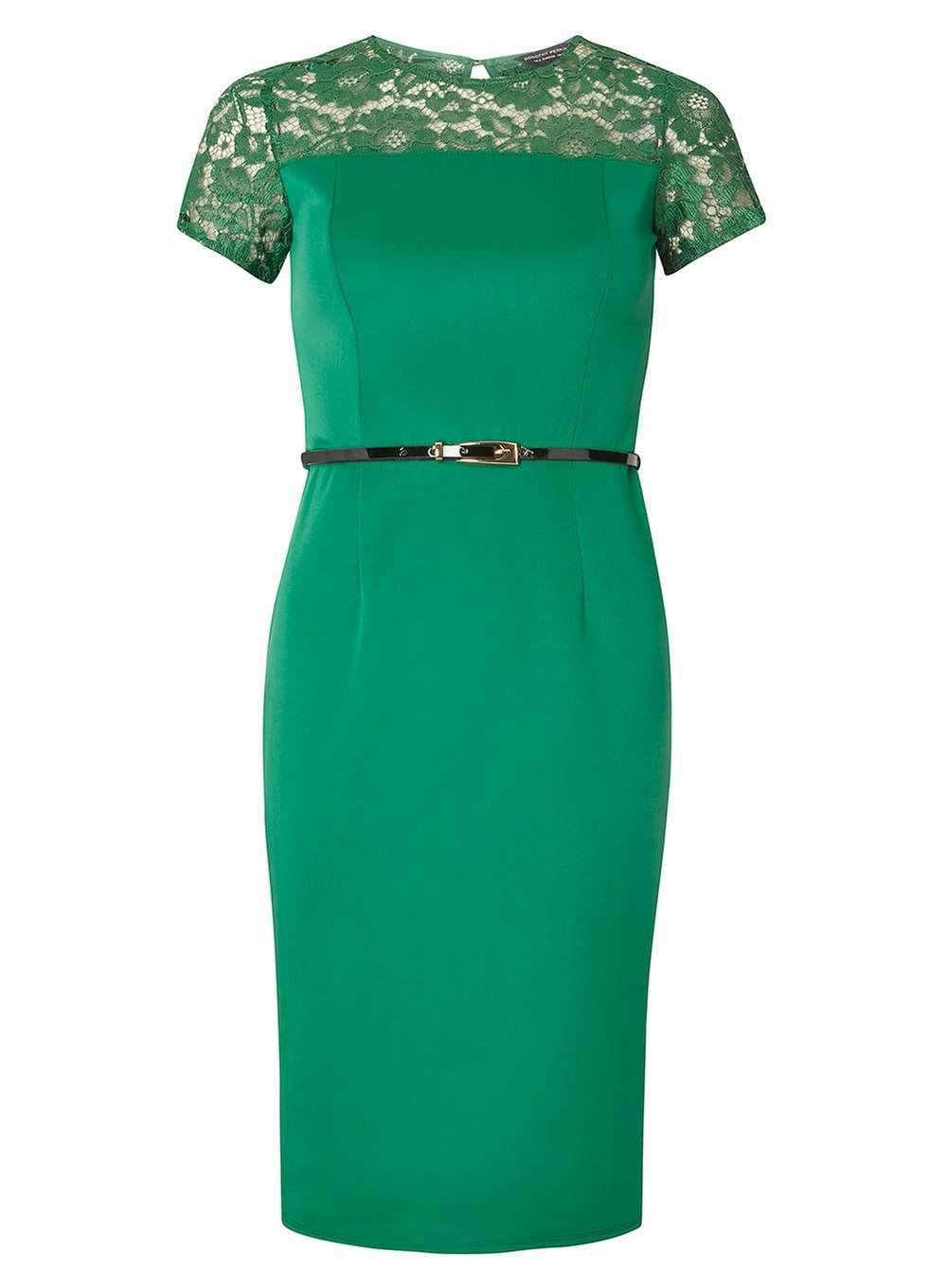 Womens Lace Contrast Pencil Dress Green - style: shift; pattern: plain; bust detail: sheer at bust; waist detail: belted waist/tie at waist/drawstring; predominant colour: emerald green; occasions: evening; length: on the knee; fit: body skimming; fibres: polyester/polyamide - stretch; neckline: crew; sleeve length: short sleeve; sleeve style: standard; pattern type: fabric; texture group: jersey - stretchy/drapey; embellishment: lace; season: a/w 2016