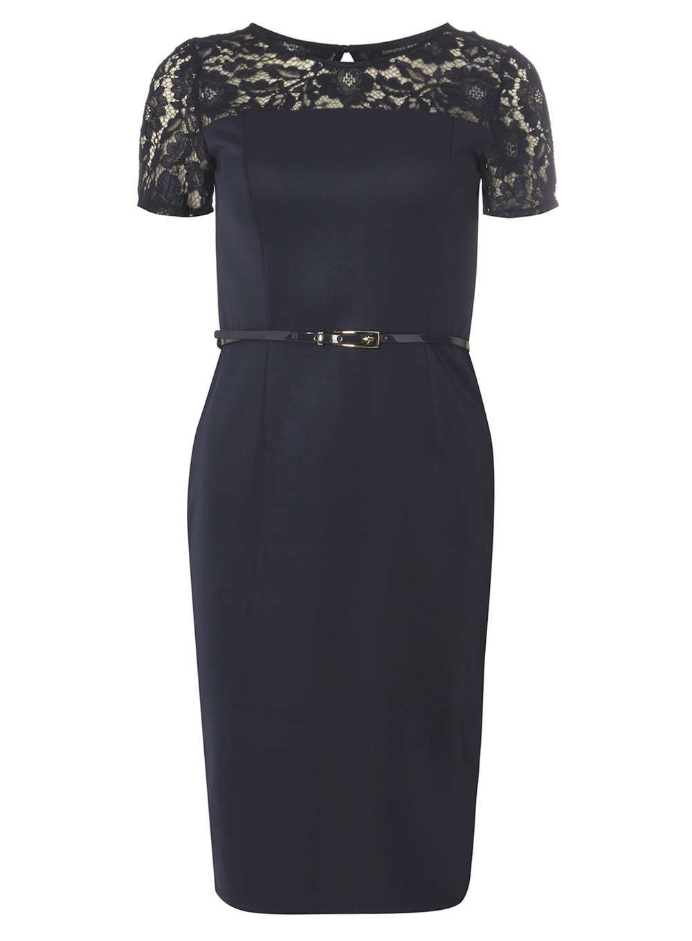 Womens Lace Contrast Pencil Dress Navy - style: shift; pattern: plain; waist detail: belted waist/tie at waist/drawstring; predominant colour: navy; occasions: evening; length: just above the knee; fit: body skimming; fibres: polyester/polyamide - stretch; neckline: crew; sleeve length: short sleeve; sleeve style: standard; pattern type: fabric; texture group: jersey - stretchy/drapey; embellishment: lace; shoulder detail: sheer at shoulder; season: a/w 2016; wardrobe: event; embellishment location: shoulder, sleeve/cuff