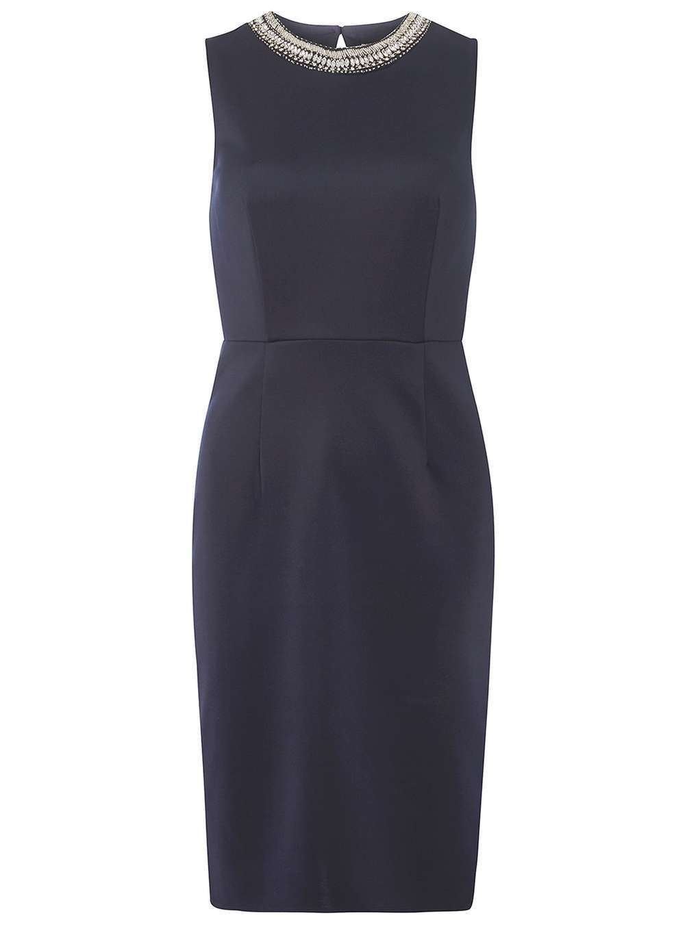 Womens Embellished Pencil Dress Navy - style: shift; pattern: plain; sleeve style: sleeveless; predominant colour: navy; occasions: evening; length: just above the knee; fit: body skimming; fibres: polyester/polyamide - stretch; neckline: crew; sleeve length: sleeveless; pattern type: fabric; texture group: jersey - stretchy/drapey; embellishment: sequins; season: a/w 2016; wardrobe: event; embellishment location: bust