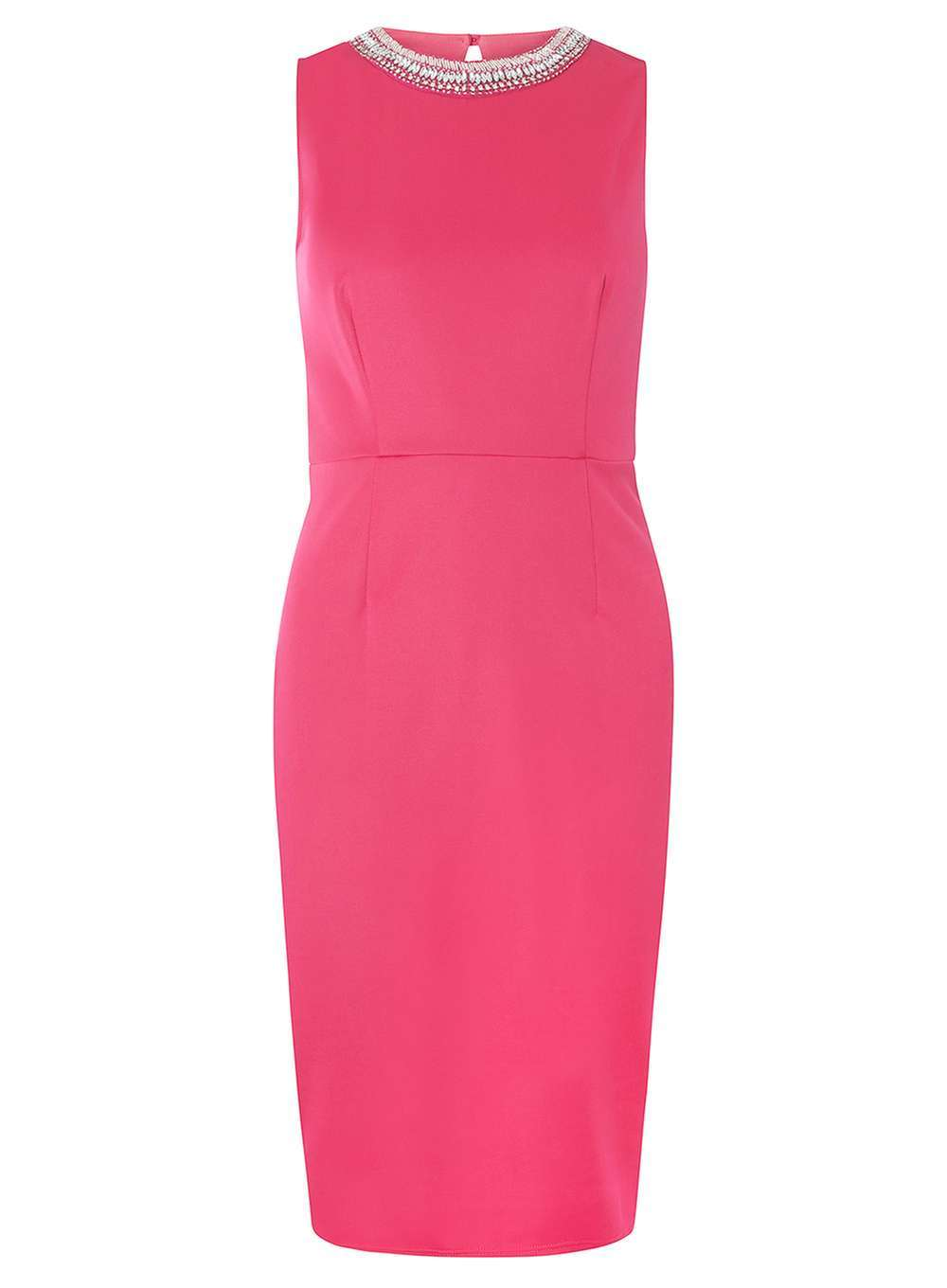 Womens Embellished Pencil Dress Pink - style: shift; pattern: plain; sleeve style: sleeveless; predominant colour: hot pink; occasions: evening; length: on the knee; fit: body skimming; fibres: polyester/polyamide - stretch; neckline: crew; sleeve length: sleeveless; pattern type: fabric; texture group: jersey - stretchy/drapey; embellishment: crystals/glass; season: a/w 2016; wardrobe: event; embellishment location: bust