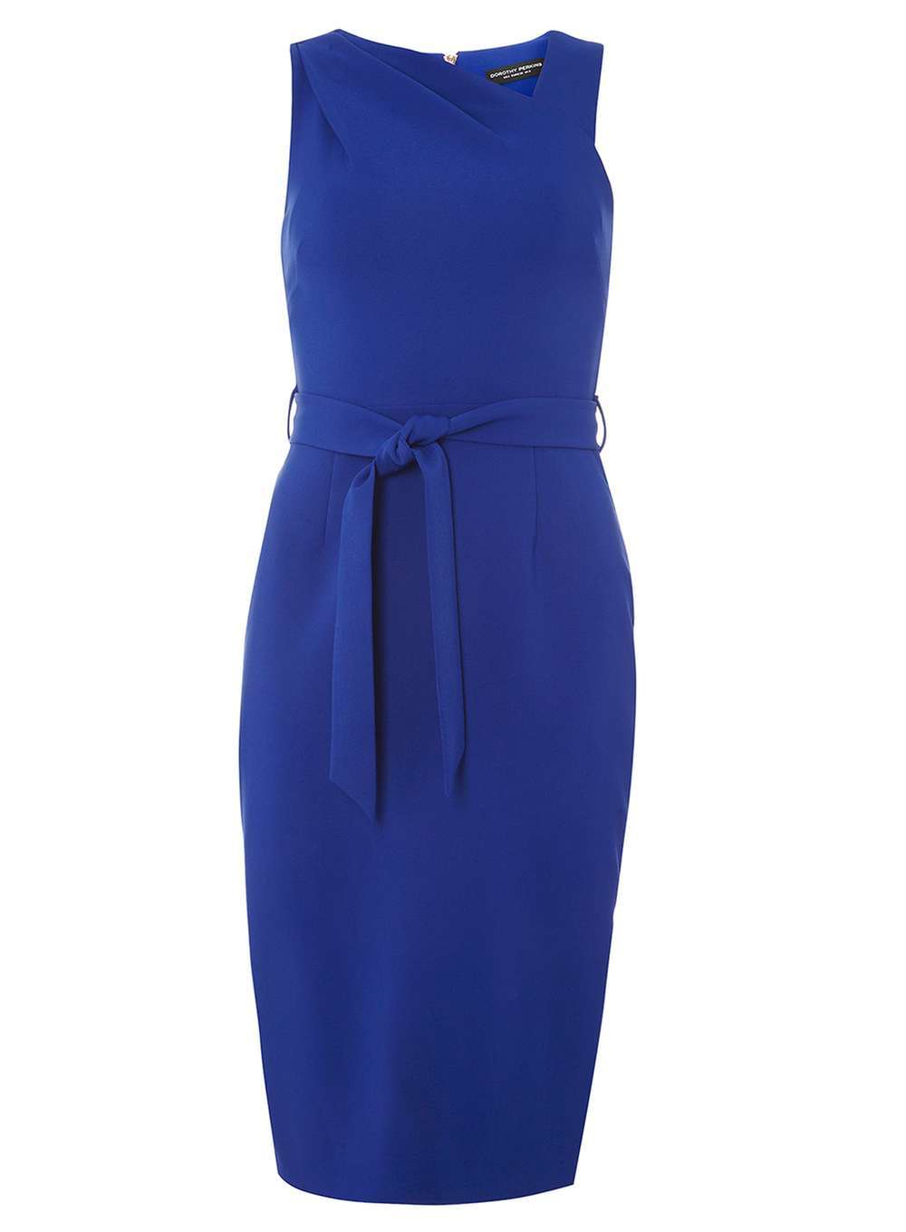 Womens Asymmetric Pencil Dress Cobalt - style: shift; length: below the knee; pattern: plain; sleeve style: sleeveless; neckline: asymmetric; waist detail: belted waist/tie at waist/drawstring; predominant colour: royal blue; occasions: evening; fit: body skimming; fibres: polyester/polyamide - stretch; sleeve length: sleeveless; pattern type: fabric; texture group: jersey - stretchy/drapey; season: a/w 2016; wardrobe: event